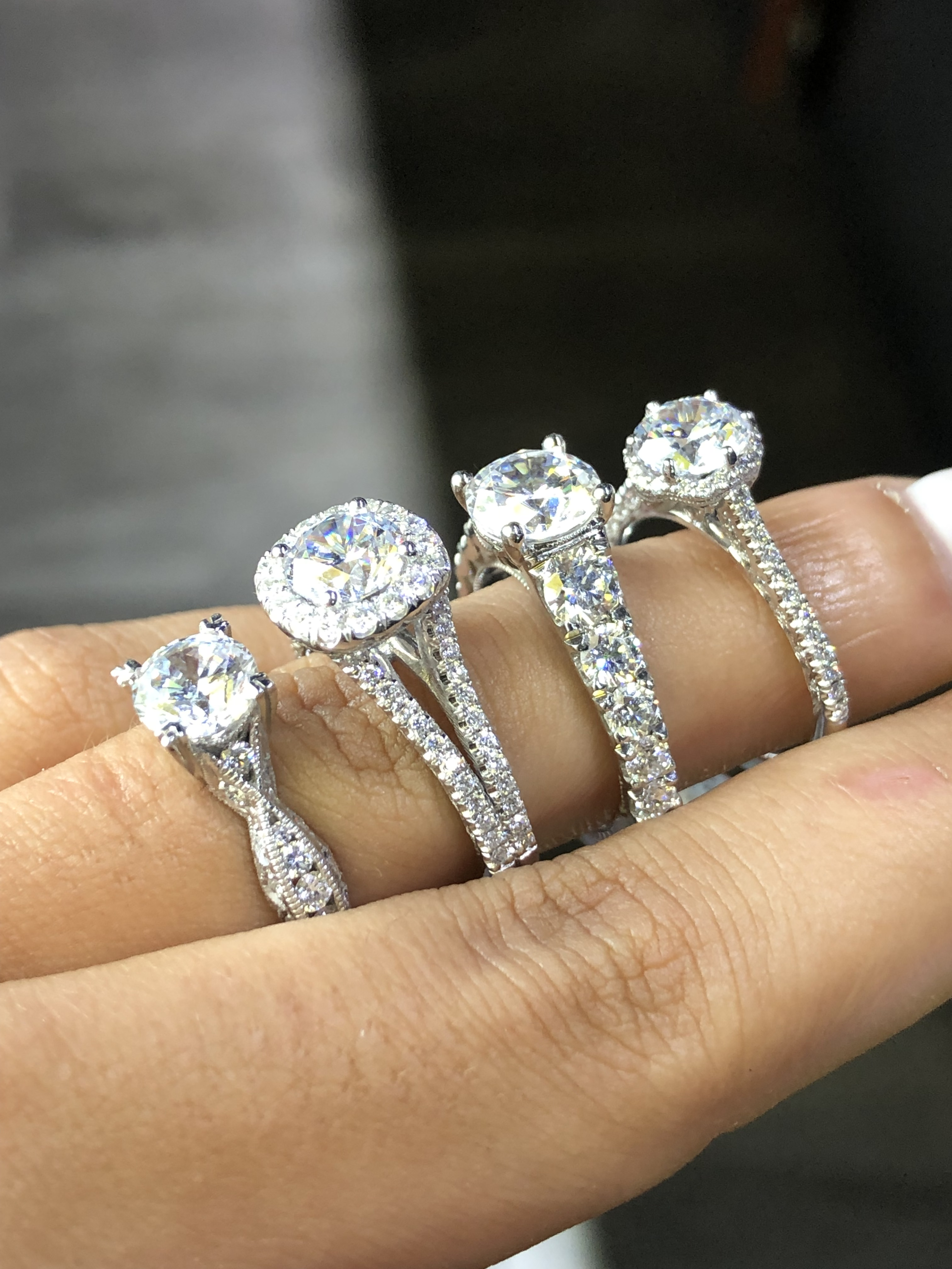engagement vs wedding rings four engagement diamond solitaires from the side