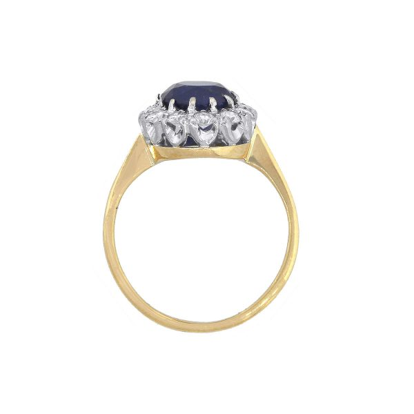 14k Yellow Gold 1.70ct Oval Cut Sapphire and 0.39ct Diamond Halo Ring
