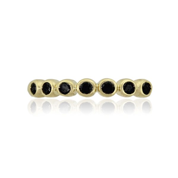 Lagos Caviar 18k Yellow Gold Black Sapphire Stackable Ladies Band