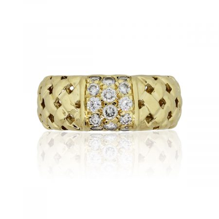 Tiffany & Co. 18k Yellow Gold 0.58ctw Diamond Basket Woven Vannerie Collection Ring