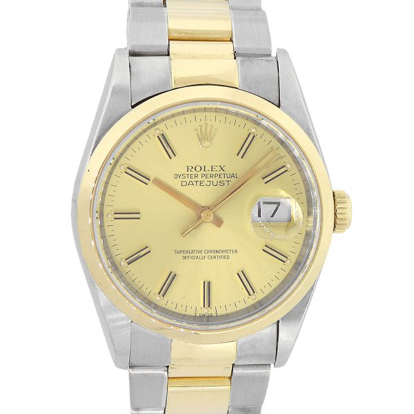 Rolex 16233 Datejust Two Tone Champagne Dial Watch