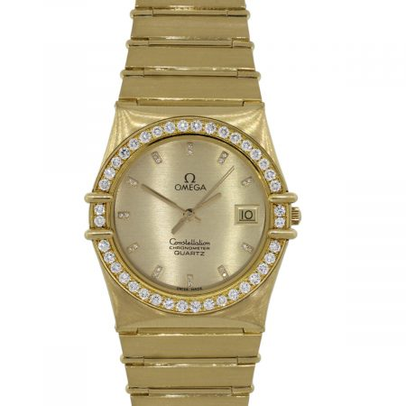 Omega 1431 Constellation 18k Yellow Gold Diamond Bezel Watch