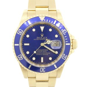 Rolex 16618 Submariner 18k Yellow Gold Blue Bezel And Dial Watch