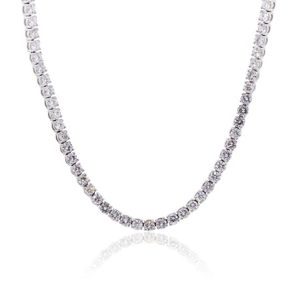 "14k White Gold 33ctw Diamond 26"" Tennis Necklace"