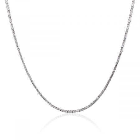 "14k White Gold 9ctw Diamond 20"" Tennis Necklace"
