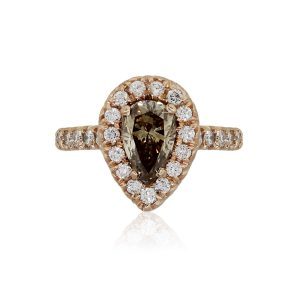 14k Rose Gold 1.22ct Fancy Brown Pear Shape and 0.75ctw White Diamond Ring