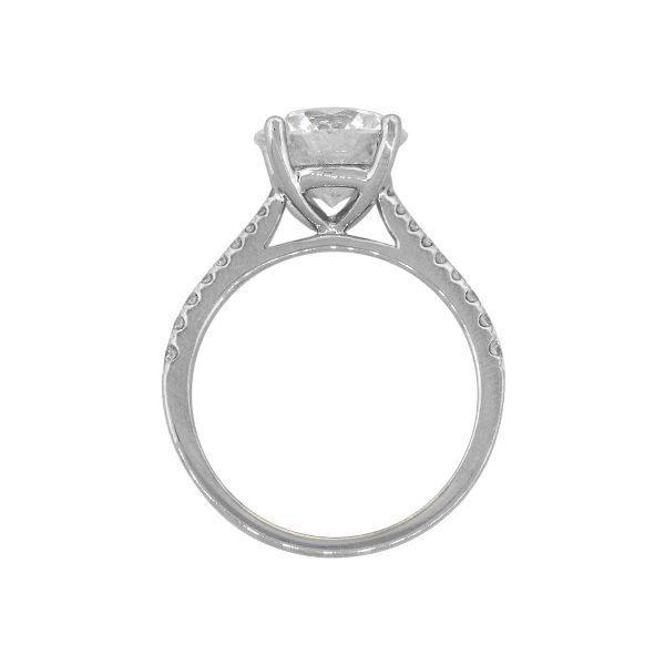 18k White Gold 3ct Round GIA Diamond Solitaire Engagement Ring