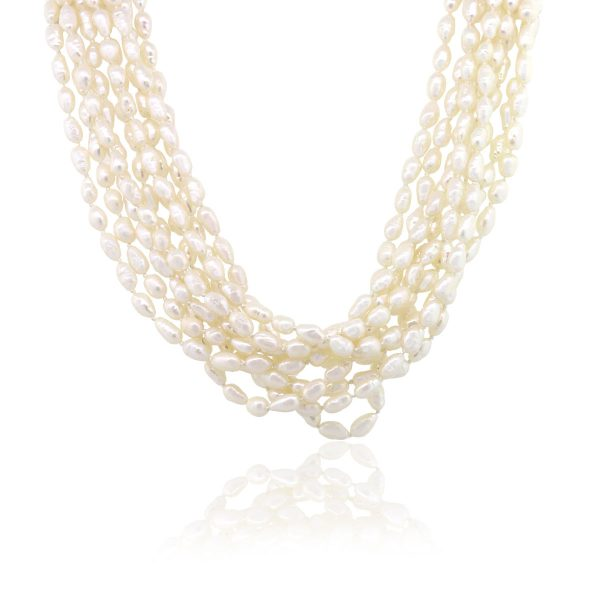 14k Yellow Gold 0.25ctw Diamond Fresh Water Barque Pearl Necklace