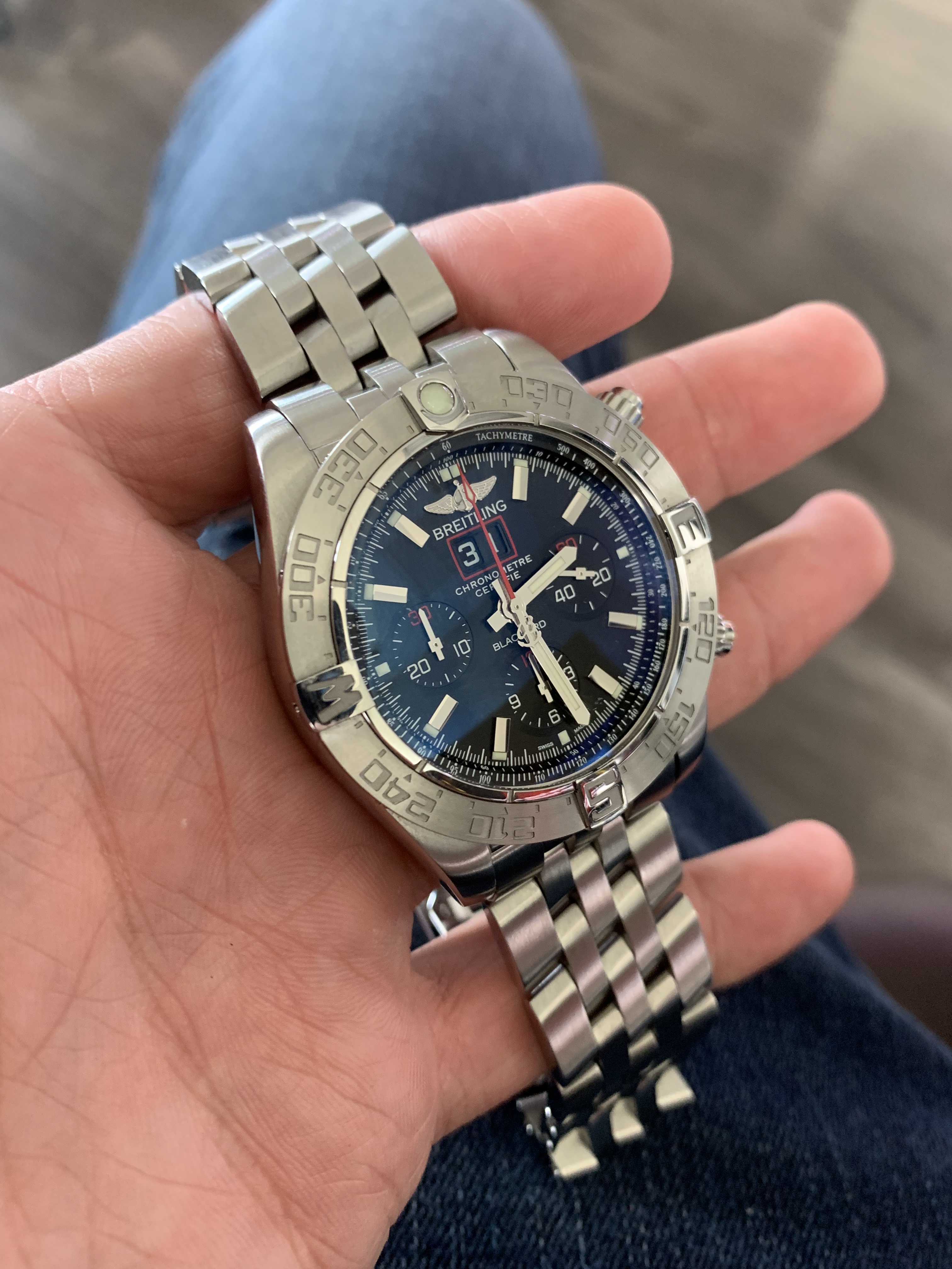 breitling blackbird limited edition stainless steel watch blue dial