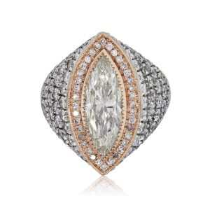 14k White and Rose Gold 3.06ct EGL Certified Marquise Shape Diamond Ring