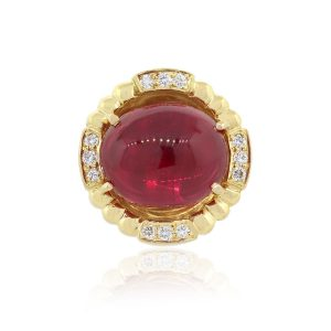 14k Yellow Gold 0.15ctw Diamond Red Cabochon Cocktail Ring