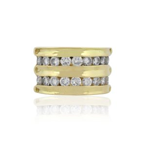 18k Yellow Gold 0.90ctw Round Diamond Wide Band