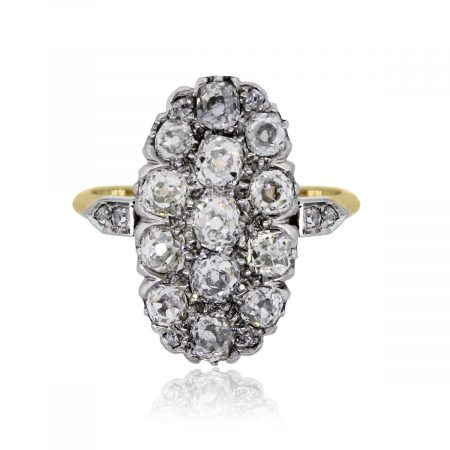14k Two Tone Gold 1ctw Diamond Oval Shape Vintage Ring