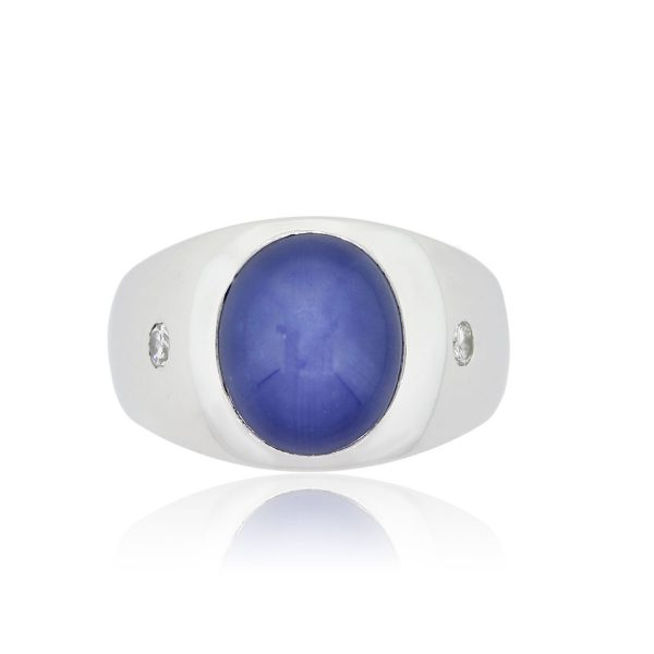 14k White Gold 0.10ctw Diamond and Linde Star Sapphire Gents Ring