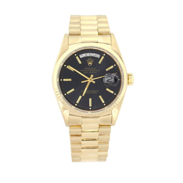 Rolex 18038 Day Date 18k Yellow Gold Black Tapestry Dial Watch