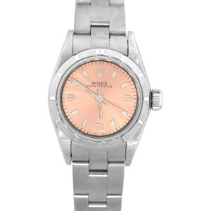 Rolex 67230 Oyster perpetual Stainless Steel Salmon Dial Ladies Watch