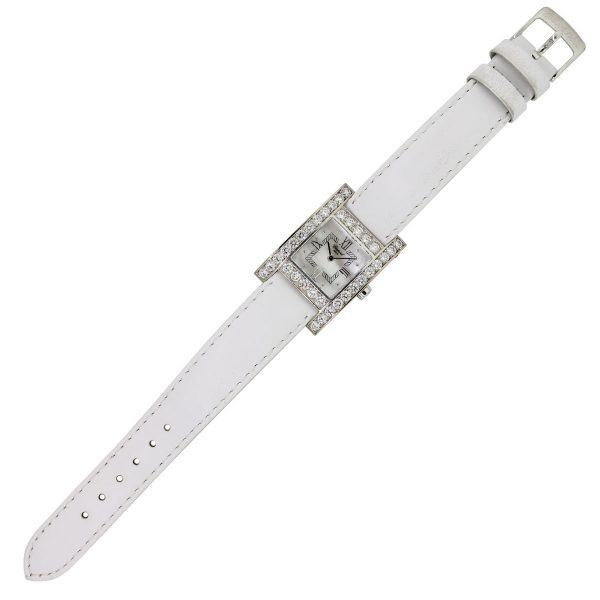 white gold white leather watch