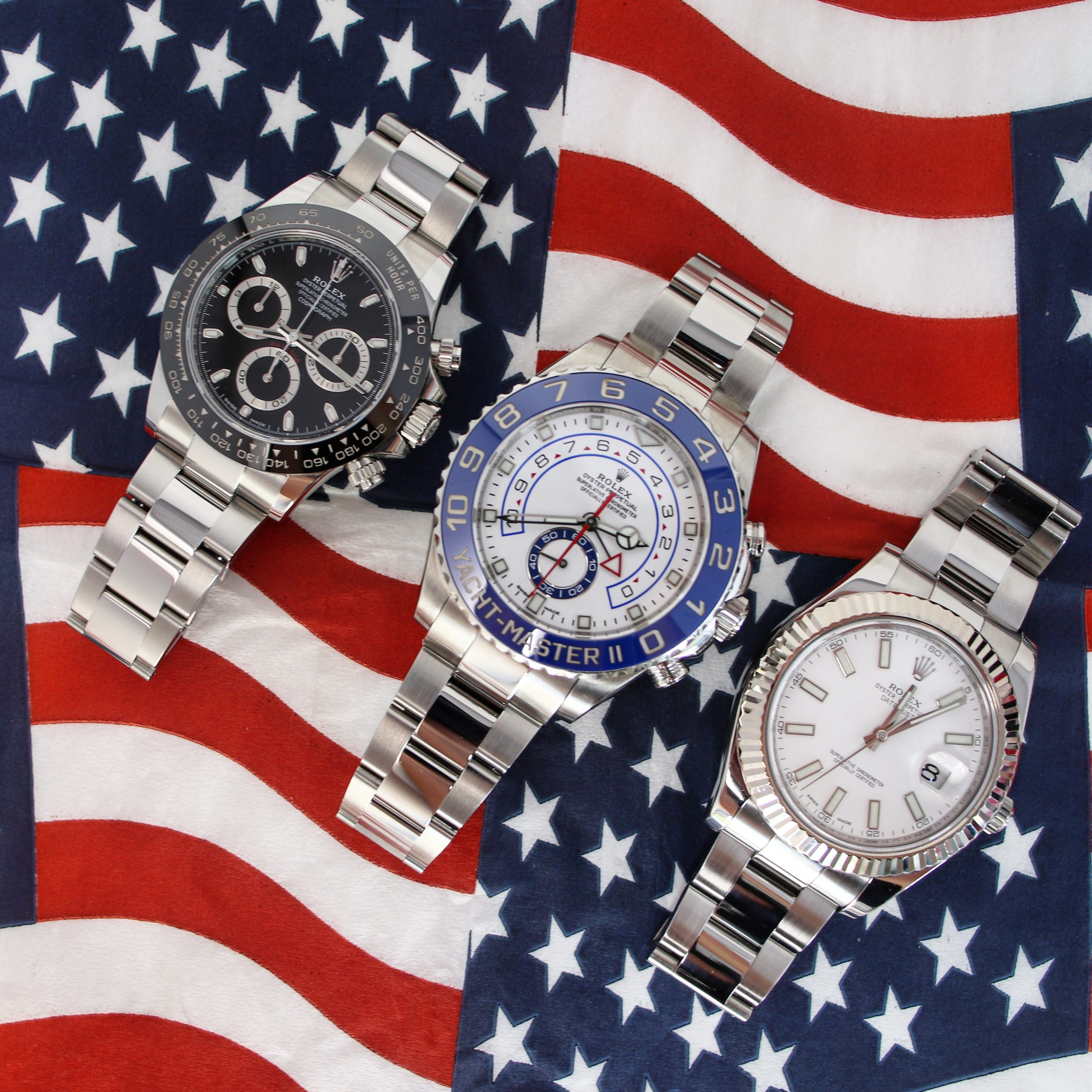 rolex straps options for three pictured watches Yachtmaster II daytona and datejust