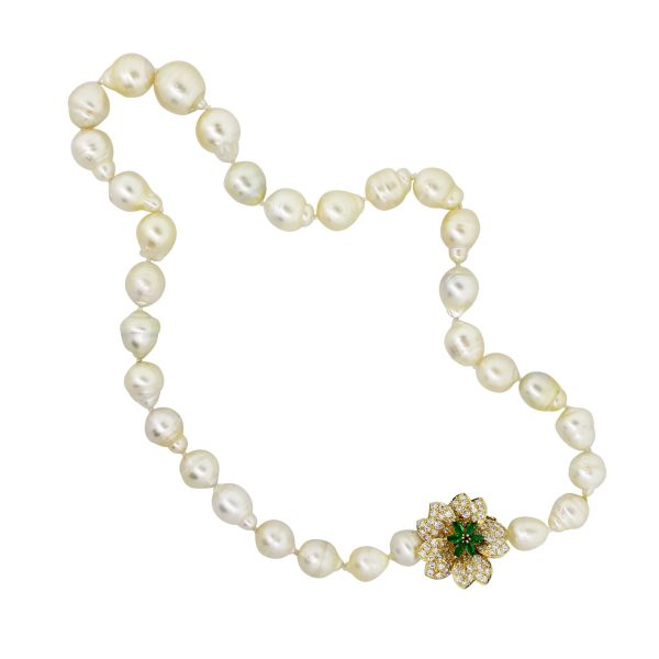 pearl diamond and emerald necklace