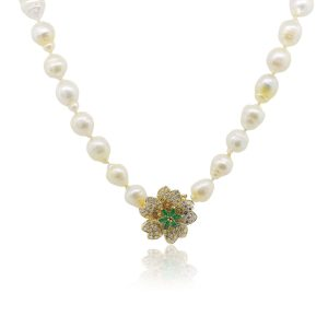 18k Yellow Gold 1ctw Emerald with Diamond Pendant Akoya Pearl Necklace