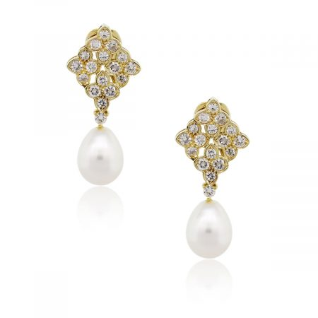 18k Yellow Gold 1.50ctw Diamond and Pear Shape Pearl Dangle Earrings