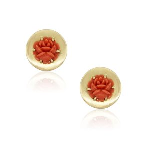 18k Yellow Gold Carved Coral Rose Round Earrings
