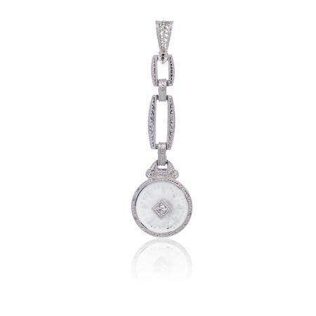 14k White Gold Round Brilliant Diamond Etched Glass Drop Pendant
