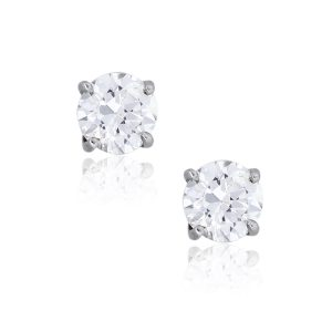 14k White Gold 1.10ctw Round Brilliant Diamond Stud Earrings