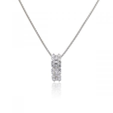 18k White Gold 0.76ctw Baguette and Round Brilliant Diamond Pendant on Chain Necklace
