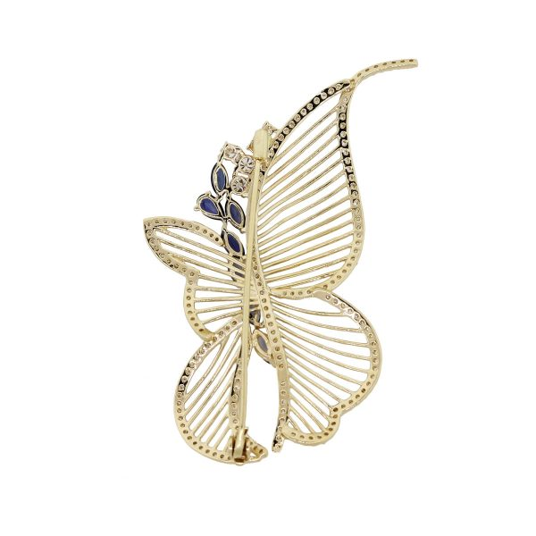 yellow gold butterfly pin