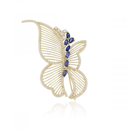 14k Yellow Gold 3.10ctw Diamond and 0.84ctw Sapphire Butterfly Pin