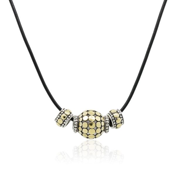 John Hardy 18k Yellow Gold Sterling Silver Beads On Leather Strand Necklace