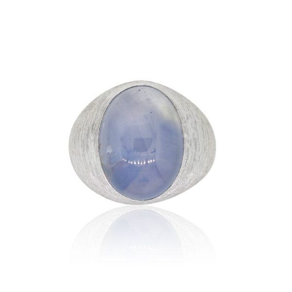 14k White Gold Large Oval Star Sapphire Gents Ring