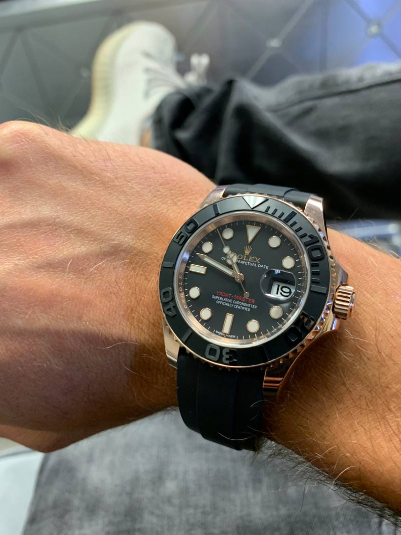 Review Rolex 116655 Yachtmaster 40 Rose Gold Oysterflex