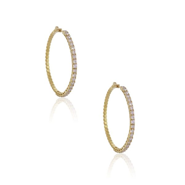 14k Yellow Gold 4.56ctw Diamond Inside Out Hoop Earrings