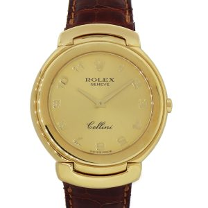 Rolex 6623 Cellini 18k Yellow Gold Arabic Champagne Dial on Leather Band Watch