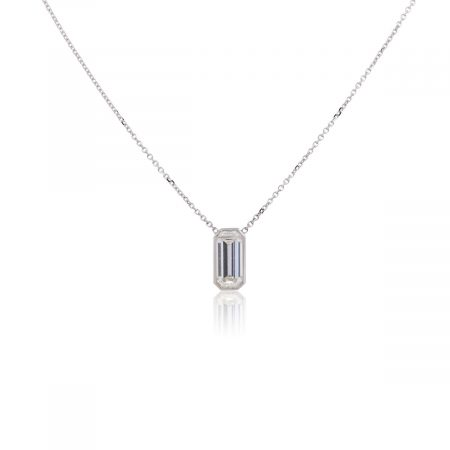 14k White Gold GIA Certified 1.44ct Emerald Cut Diamond Necklace