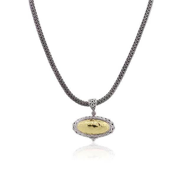 John Hardy Palu 22k Yellow Gold and Sterling Silver Oval Pendant Necklace