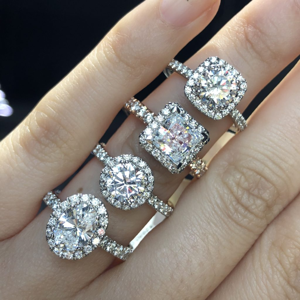 halo ring settings four different cuts with accent diamond bands