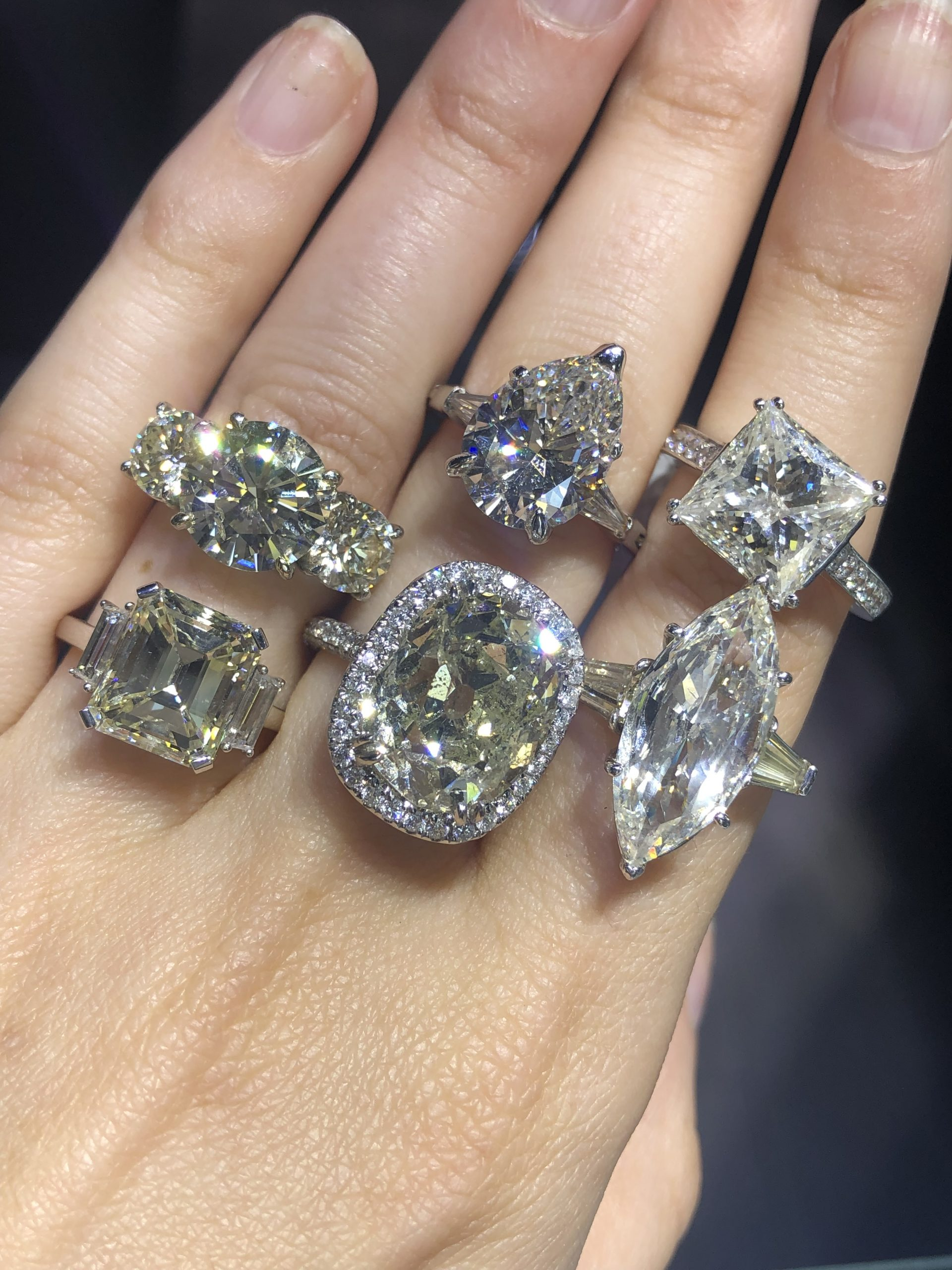 6 big engagement ring settings different diamond cuts