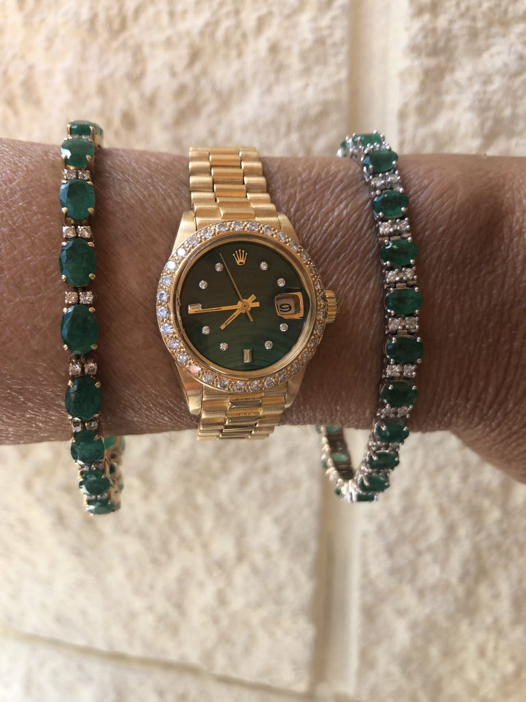 emerald and diamond bracelet and rolex date just green malachite dial pair
