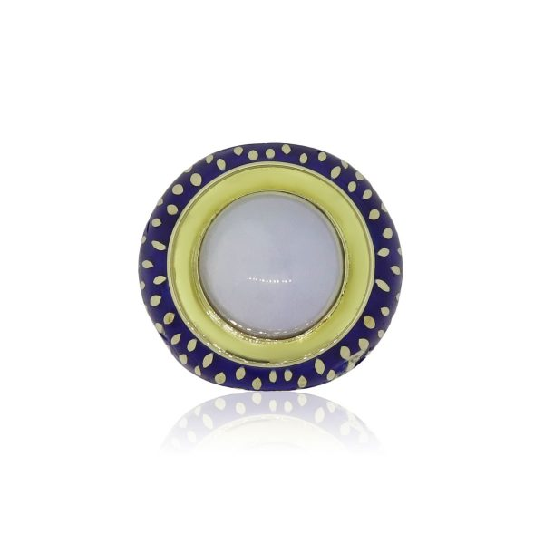 14k Yellow Gold Round Cabochon Quartz and Blue Enamel Cocktail Ring