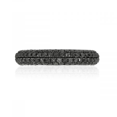 18k White Gold 1.90ctw Black Diamond Pave Band