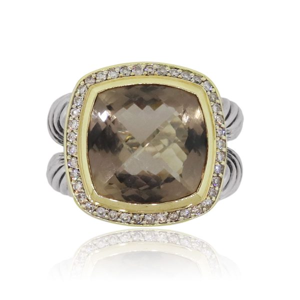 David Yurman Albion 18k Yellow Gold and Sterling Silver Smoky Quartz Ring