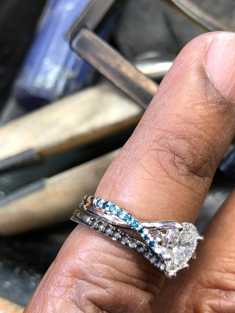 final touches on wedding jewelry