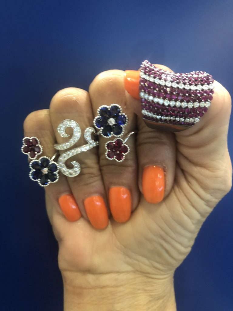 promise rings colorful flowers rubies and sapphire wedding rings