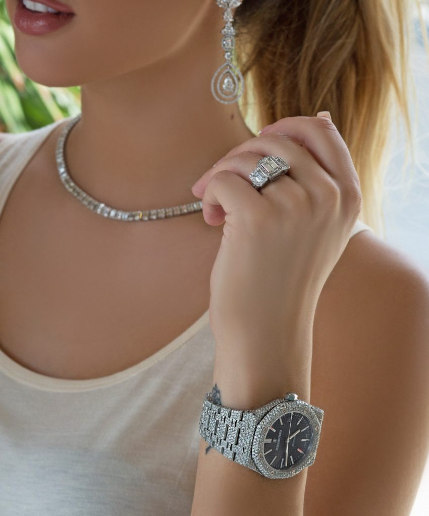 diamond jewelry watch earrings necklace and engagement ring