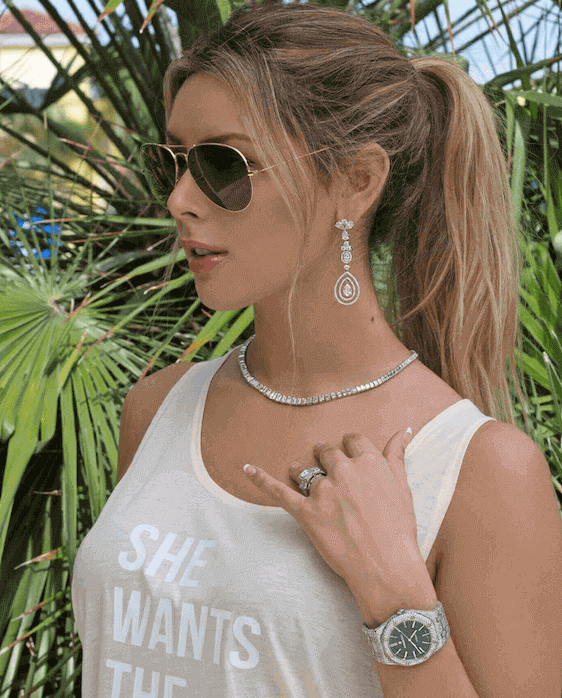 woman wearing diamond jewelry pairing