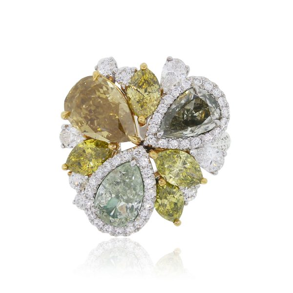 abstract flower diamond and gemstone ring