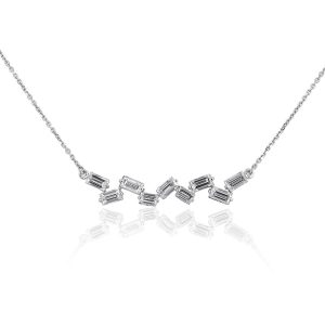 14k White Gold 2.09ctw Baguette Pendant on Chain Necklace